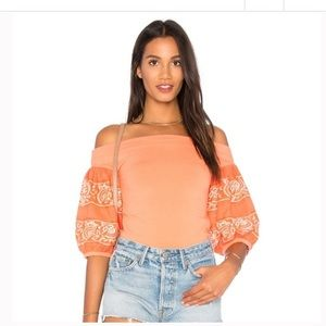 Free People Orange Off Shoulder Flare Sleeves Top